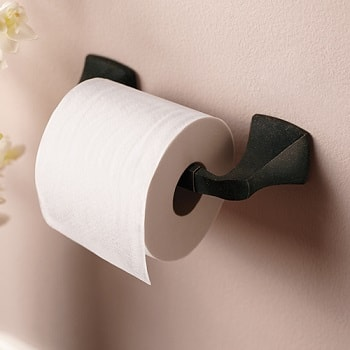 oil rubbed bronze moen voss toilet paper holder installed