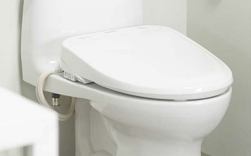 Washlet bidet seat installed