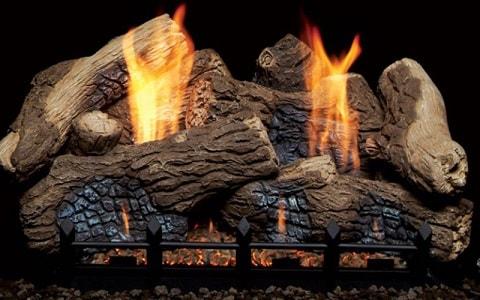 gas logs burning