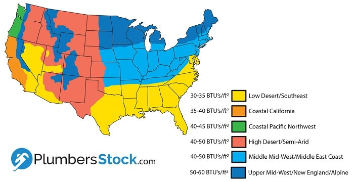 what size furnace map of United States based on BTU output needed