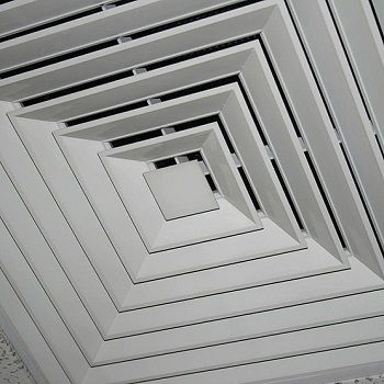 close up view of a ceiling diffuser