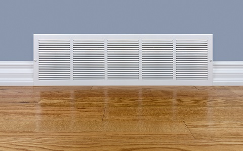wall diffuser installed in baseboard