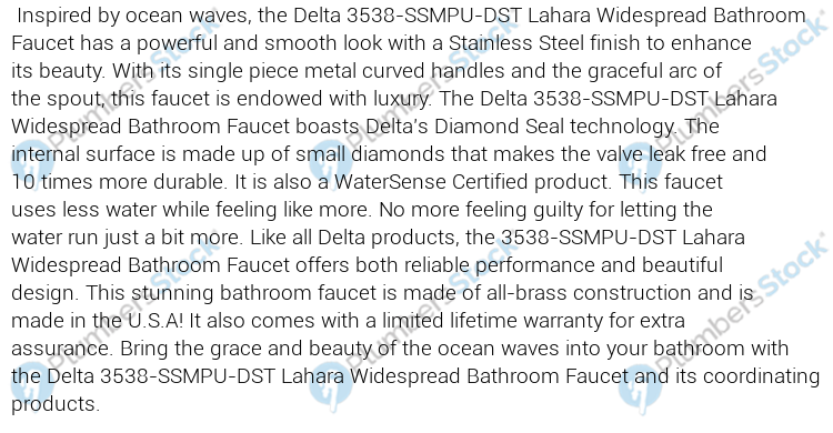 Delta 3538 SSMPU DST Lahara Widespread