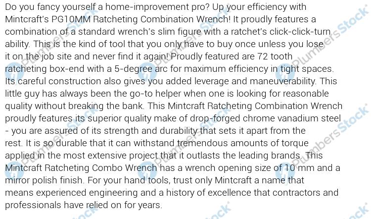 10mm MINTCRAFT PG10MM Ratchet Wrench