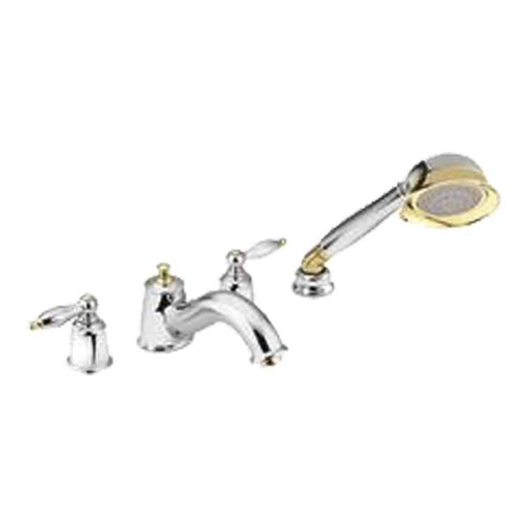 Moen Polished Brass Bathroom Faucets: Moen T6986CP Castleby Chrome/Polished Brass Roman Tub
