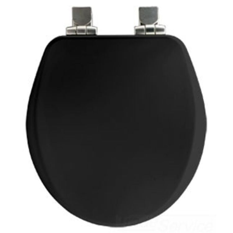 Bemis 9170NISL 047 Black Closed Front Round Wood Toilet Seat With Cover