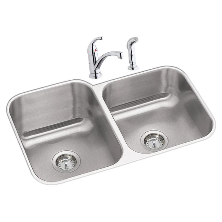 Elkay dxuh312010rdf dayton stainless steel double bowl - Kitchen sink package ...