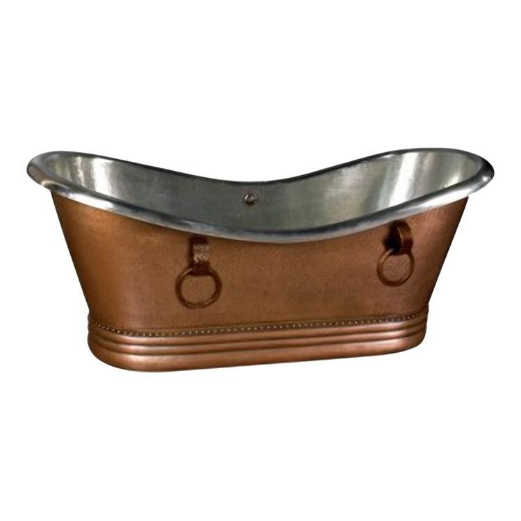 Aquatic bath ai42copnikto freestanding 66 x33 x30 copper for Waterworks copper tub
