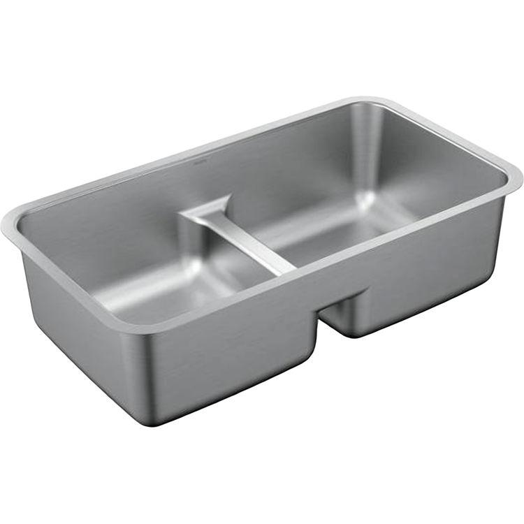 Moen G18252 Stainless Double Bowl Undermount Sink Plumbersstock