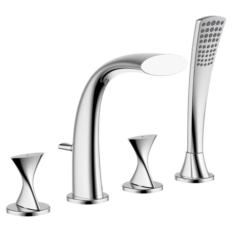 Ultra Faucets Uf65340 Chrome Twist Roman Tub Faucet With Spray