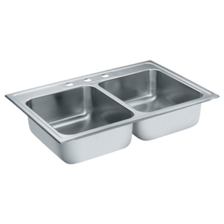 33x22 stainless steel kitchen sink moen s22317 lancelot 33x22 drop in stainless steel sink 7333