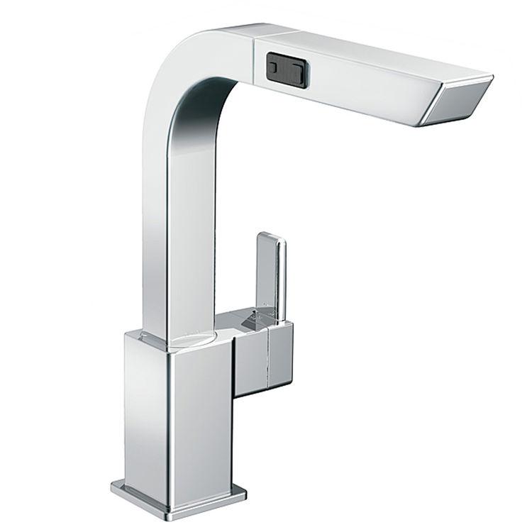 Moen S7597C 90 Degree Chrome Single Handle Pullout Kitchen Faucet